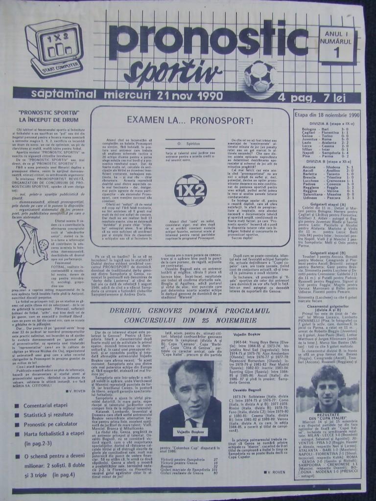 Revista Pronostic Sportiv Nr 1